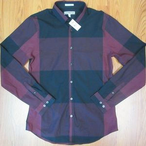 NEW! EXPRESS EXTRA SLIM FIT 100% COTTON BURGUNDY
